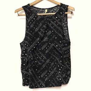 Free People Tulip Front Black and White Tank Top M